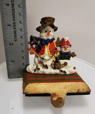 SNOWMAN big & small CHRISTMAS  STOCKING HANGER HOLDER Resin w/cast base (Big Christmas Stockings)