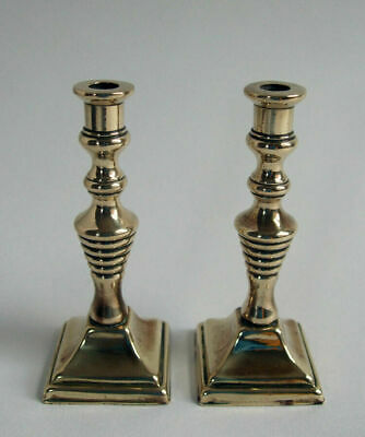 Antique Square Base Miniature Brass Dolls House Fireplace Candle Sticks.