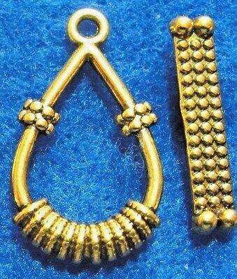 50Sets WHOLESALE Tibetan Antique Gold TEARDROP Toggle Clasps Connectors Q0956
