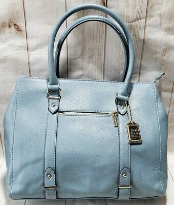 Anne Klein AK Lion Gold Logo Large Light Blue Pebble Faux Leather Tote/Purse