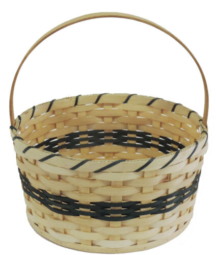 Amish Handmade Easter Basket Large Round Green Accent Color - FREE SHIPPING