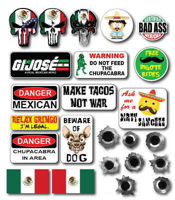 23pk 3m Funny Mexican Hard Hat Helmet Sticker Combo Value Pack Toolbox Welder