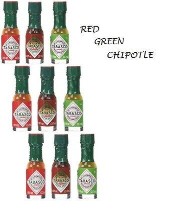Tabasco Pepper Sauce - Mini Tabasco Original Pepper Sauce Bottles 1/8 Oz. Red & Green & NEW Chipotle !