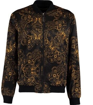 VERSACE JEANS Black & Gold Baroque Print Bomber Jacket - UK 40/IT 50/ US M