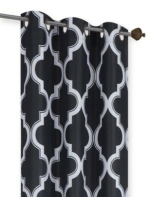 BLACK/WHITE PANEL/VALANCE MOROCCAN PRINT WINDOW LINED LIGHT BLOCKING CURTAIN  ()