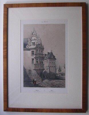 Mainz um 1850 / gerahmtes coloriertes Litho von Lemercier