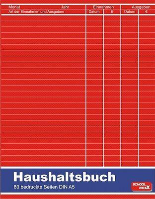 Haushaltsbuch A5 80 Seiten Haushalt Einnahmen und Ausgaben Etat Budget Haushalt