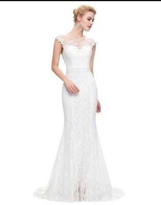 White Lace Wedding Dress Gown Bridal Size 12  Long Womans Pearls Sheath Nwt