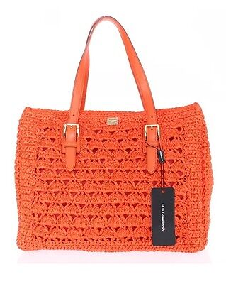 DOLCE & GABBANA MISS SICILY Shopper Bag Orange Raffia Shoulder Tote NEW