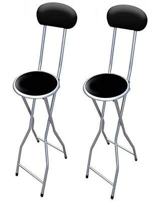 2xBlack Padded Folding High Chair Breakfast Kitchen PVC Bar Stool Soft Seat 94cm Bar Stool High Chair