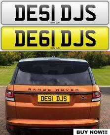 DESI DJ'S cherished private personalised number plate car reg. DE61 DJS