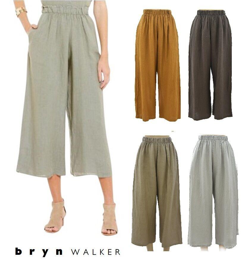 BRYN WALKER USA Light Linen  CASBAH PANT  Crop Pocket Pants 1X 2X 3X SPRING 2017