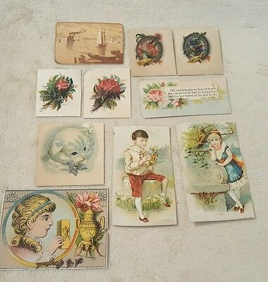 Lot of 10 Antique Vintage Victorian Paper Cards Cut Outs ephemera