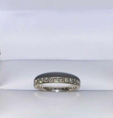 18K BRILLIANT CUT DIAMOND 0.55Ct FULL ETERNITY BAND SZ5 Wedding Anniversary -