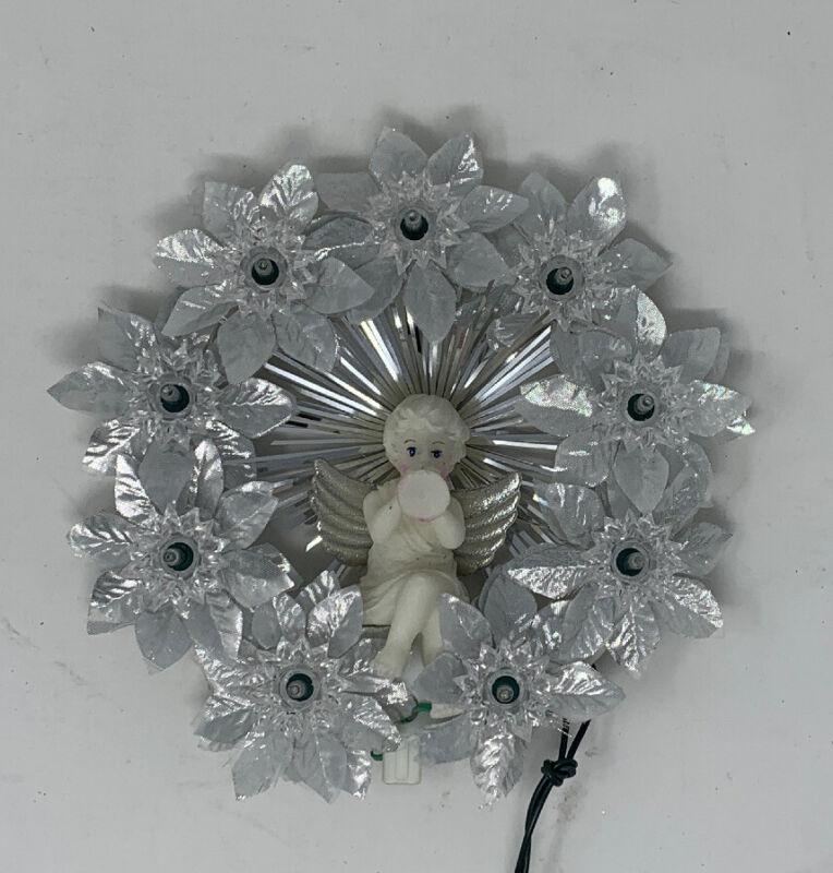 Vintage Retro Light Up Angel Wreath Ornament Tree Topper