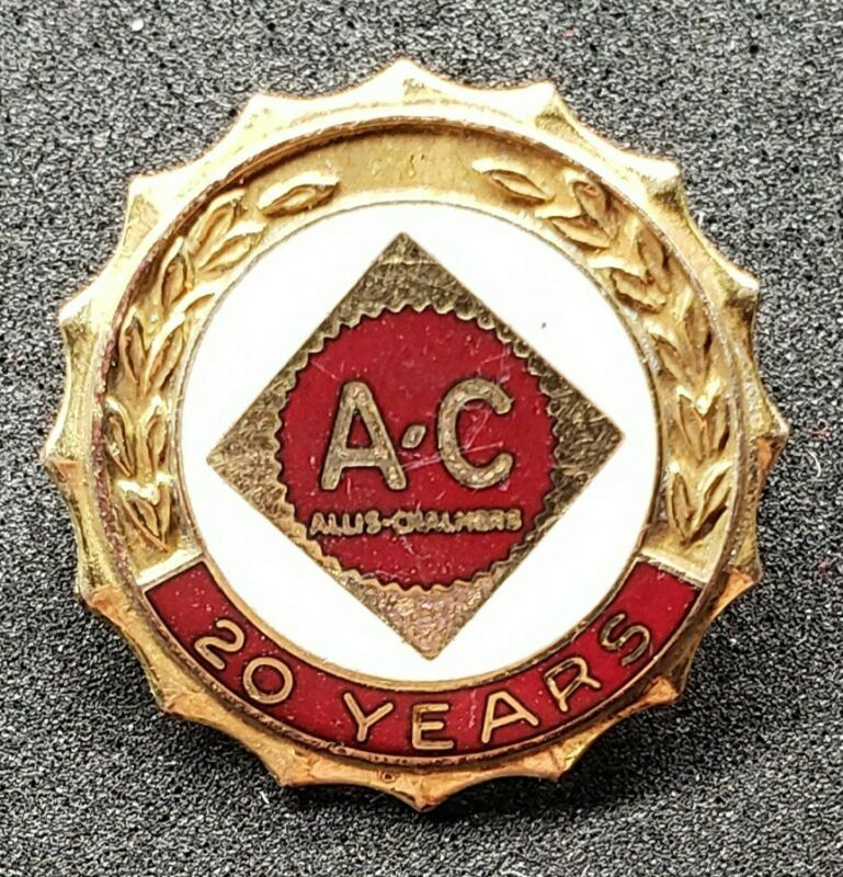 Allis Chambers AC Tractor Gold Filled 20 Year Red & White Enamel Service Pin