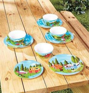 RETRO HAPPY CAMPER OUTDOOR MELAMINE 12-PC DINNERWARE SET FOR CAMPING BBQS PICNIC & Retro Dinnerware | eBay