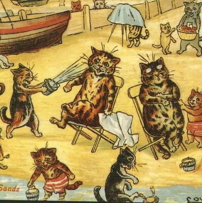 """LOUIS WAIN. CATS """"ON THE SANDS"""" BEACH FUN,SANDPAIL,REPRODUCTION GREETING CARD"""