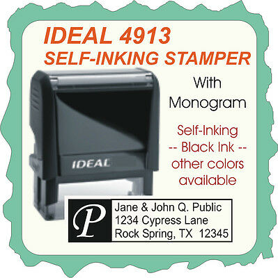 Monogram Return Address Custom Ideal Trodat Self-ink Stamp 4913 Black Ink