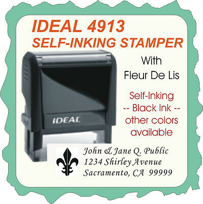 Return Address Wfleur De Lis Custom Trodat Ideal Self-ink Stamp 4913 Black