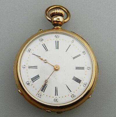 Schön verzierte alte Taschenuhr aus 750er Gold  - S7611