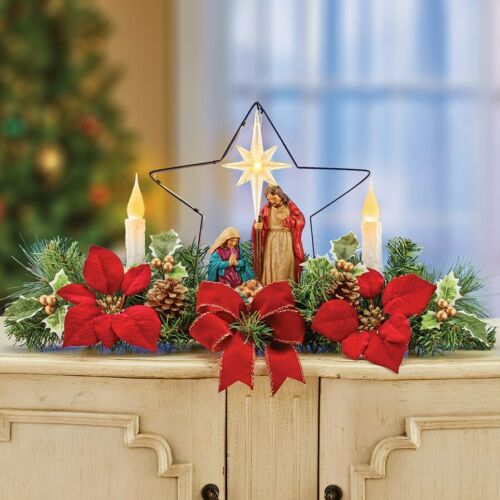 Nativity Scene LED Candle & Star Christmas Poinsettia Tabletop Centerpiece