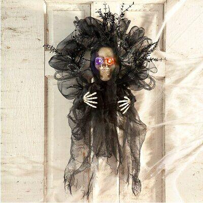 Beleuchtete Farbwechselnd Skelett Halloween Willkommen Tür Kranz
