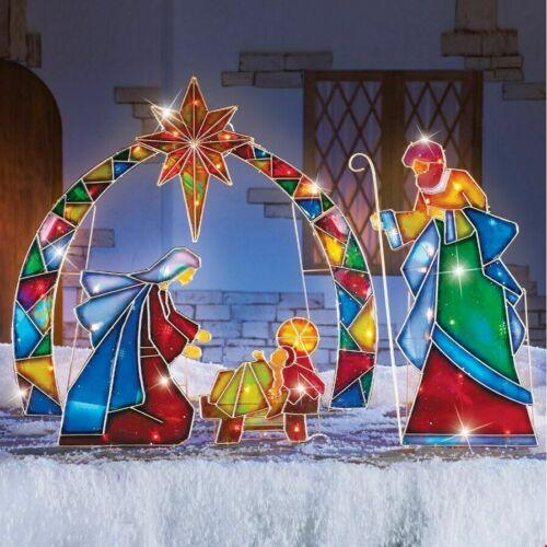 Outdoor Christmas Lighted Stake 4Pcs Yard Mosaic Nativity Holiday Decor