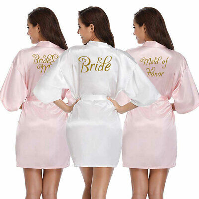 Women Bride Satin Silk Heart  Robe Wedding Party Maid Of Honor Bridesmaid Gown](Maid Of Honor Robe)