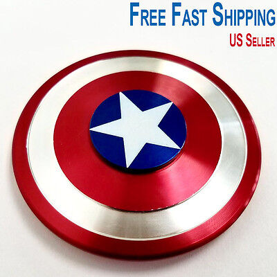 Captain America Shield Fidget Hand Spinner EDC Focus For Kids ADHD Autism Toys
