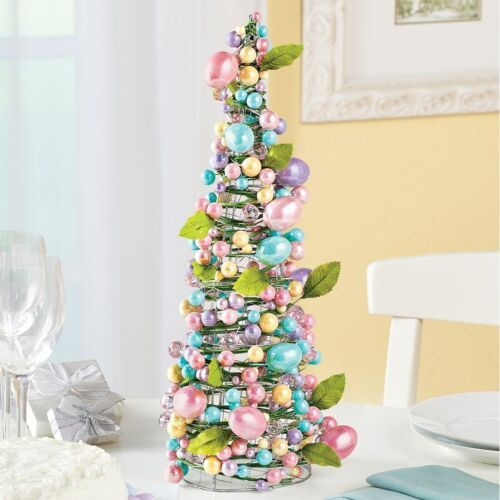 """Easter Egg Tree Centerpiece Pastel Eggs & Beads 18"""" Tall ~ USE YEAR AFTER YEAR"""
