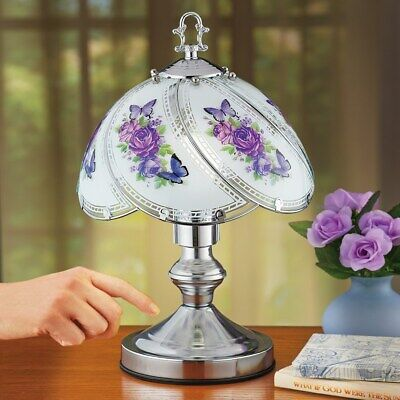 Purple Butterflies & Flowers Glass Shade Table Touch Lamp with Silver-tone Base Base Flower Touch Lamps