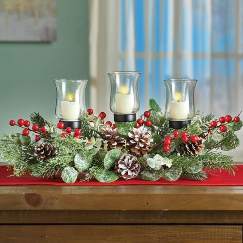 Holiday Frosted Pine Glass Candle Hurricane Christmas Tabletop Centerpiece