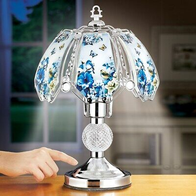Blue Songbird and Flower Glass Shade Table Touch Lamp with Silver-tone Base Base Flower Touch Lamps