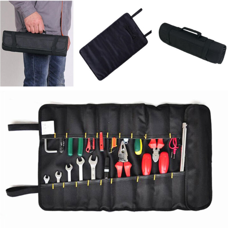 1Pcs Car Black Oxford Canvas Reel Roll Type Storage Bag Tool Reels Pocket Pouch