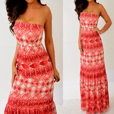 The Limited Burgundy Red Tube Strapless Cotton Silk Ruffle Long Maxi Dress 2 XS - Silk Ruffle Tube Dress