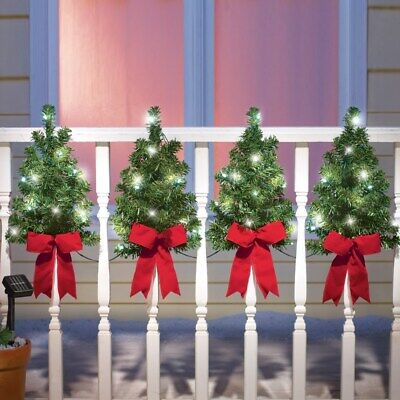 Set of 4 Solar Powered Christmas Trees w/ Red Bows Outdoor Wall & Fence Decor ()