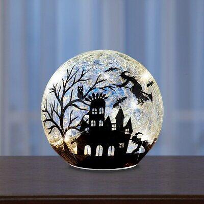 Beleuchtete Splitter Glas Ball Fliegende Hexe Silhouette Halloween - Fliegende Halloween Dekoration