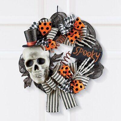 Spooky Top Hat Skeleton with Polka Dot Bows Halloween Welcome Door Wreath