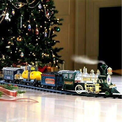 Christmas Musical Lighted Tree Train Set w/ Smoke Sounds Festive Holiday Decor