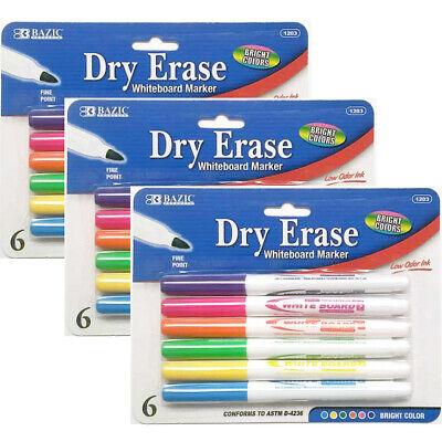 3 Pks Dry Erase White Board Markers Fine Point Tip 6 Bright Purple Pink Orange -