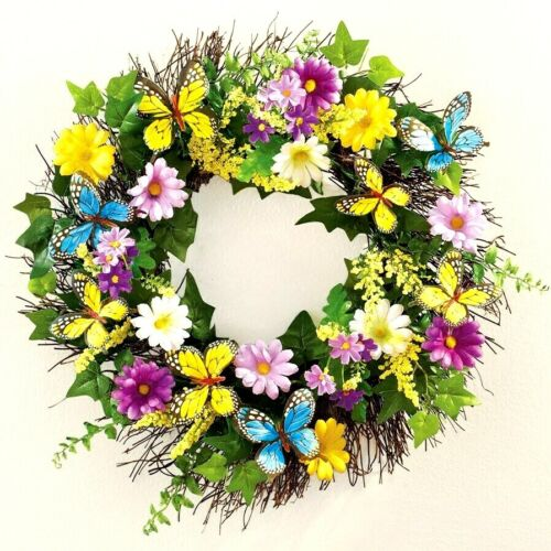"18""Dia Butterfly Daisy Flowers Floral Wall Door Hanging Wreath Spring Summer"