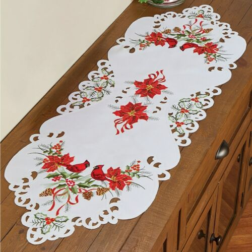 Cardinal Red Poinsettia Embroidered Dresser Scarf