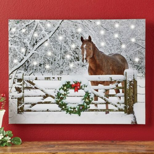 LED Lighted Country Horse w/ Wreath Christmas Scene Home Canvas Wall Art