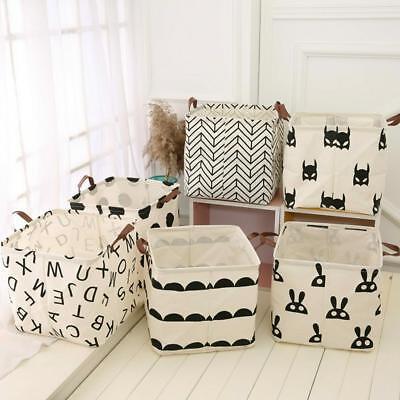 Waterproof Storage Box Bin Toy Organizer Cotton And Linen Laundry Basket Folding
