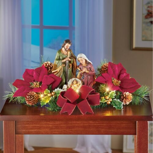 Lighted Nativity Scene with Red Bow & Poinsettias Christmas Tabletop Centerpiece