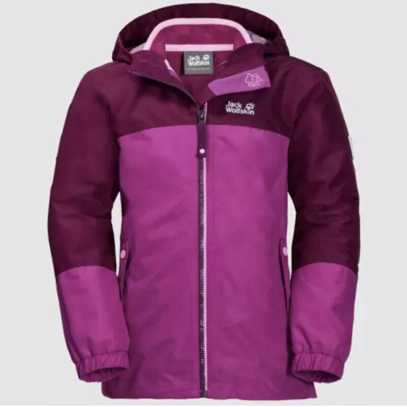 Brand New Jack Wolfskin Girl Dark Peony Iceland 3 In 1 Jacket Size 176 (UK 14+)