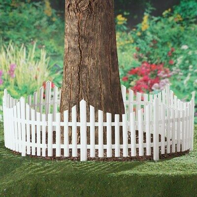 Set of 4 Flexible White Picket Fence Garden Border Edging - Covers 8 -