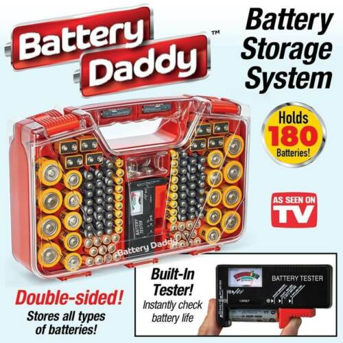 Battery Daddy Battery Organizer and Storage Case with Tester