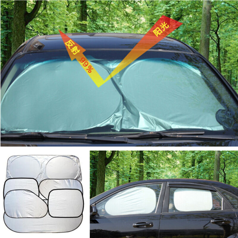6 Pcs Reflective Car Auto Window Sun Shade Sunshade Shield Cover Visor UV Block